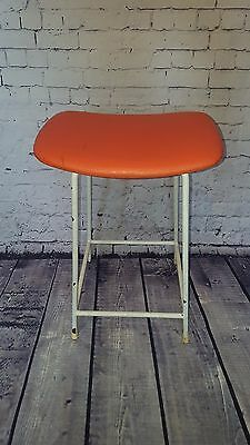 Vintage Retro Kandya Industrial Metal Vinyl Kitchen Lab Stool Seat Orange