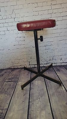 Vintage Industrial Tansad Adjustable Red Factory Machinist Stool Chair Seat