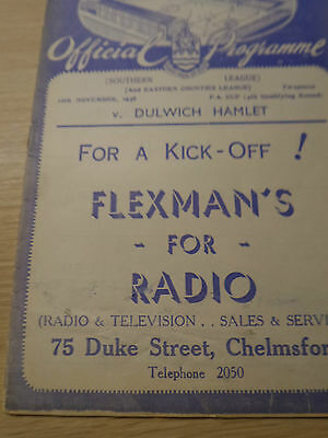 Chelmsford City v Dulwich Hamlet 12/11/38 FA Cup