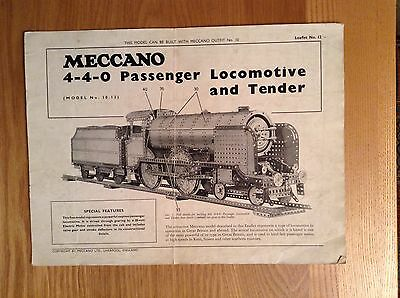 Meccano instruction leaflet 12 for number 10 set  loco and tender.