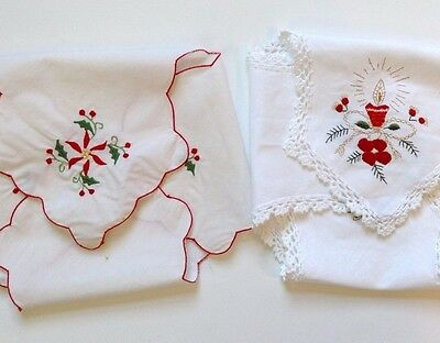 2 TWO Embroidered Christmas Bun Covers Roll Warmers Poinsettias Candle Holly