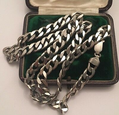 Vintage Solid Silver 925 Chunky Heavy Men's Curb Chain 19 1/2 Inches