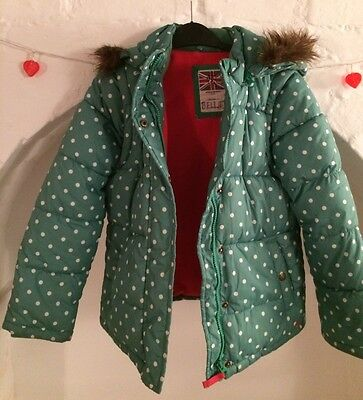 Mini Boden Green Polka Dot Hooded Fleece Lined Puffa Winter Coat Jacket 9-10