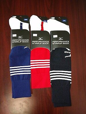 Mizuno Performance Stirrup Socks. White/Navy. Size Sm-Lg.