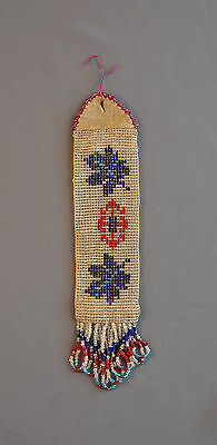 Old Native American Indian Bead Work Tie - Faceted Beads - Brain Tanned Leather