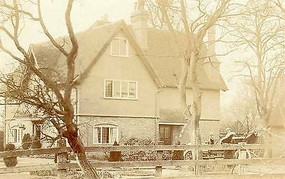 OLD REAL PHOTO POSTCARD of A HOUSE IN WINGRAVE with MOTOR CAR posted 1907