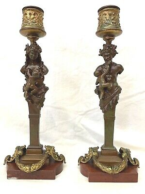 A Fine Pair 18th C. French Bronze On Marble Figurine Candlesticks MAGNIFICENT