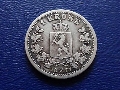 Norway 1 Krone 1877 Nice Silver Coin Norge