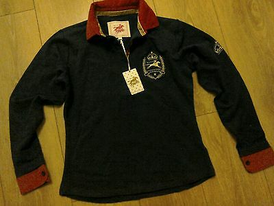 Ladies *NEW* Navy Delia Rugby Top From Tottie Size Small