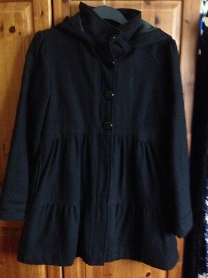 Marks and Spencer's Girl's Winter Hooded Black Coat Age 13/14 years