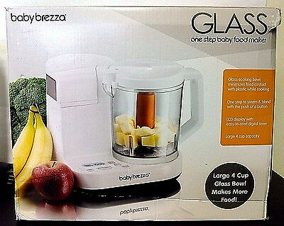 Used Baby Brezza Food Maker Glass Large 4 Cup Capacity - White