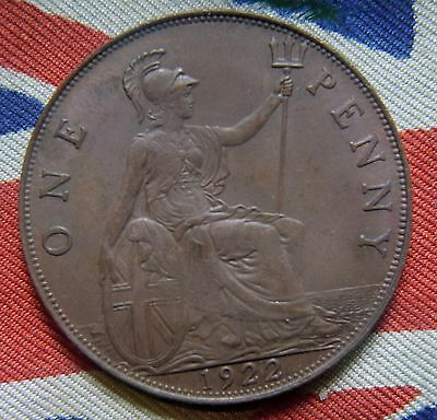 1922 King George V  Bronze Penny - Very High Grade Coin
