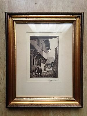 Original etching Graham Clilverd  (1883-1959) '16th cent Spanish houses in Aire'
