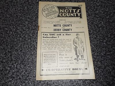 NOTTS COUNTY  v  DERBY COUNTY  1954/5  ~ AUGUST 21st *****FREE POST*****
