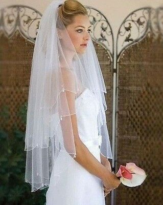 Bridal Wedding White Veil 2 Tier Handmade Elbow Beaded Edge With Comb