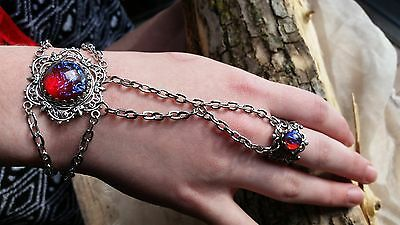 Fire Opal Bracelet Dragon's Breath with attached ring Christmas gift Holiday set