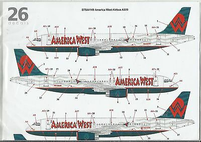 TwoSix Decals 44149 Airbus A320 America West decals in 1:144 Scale
