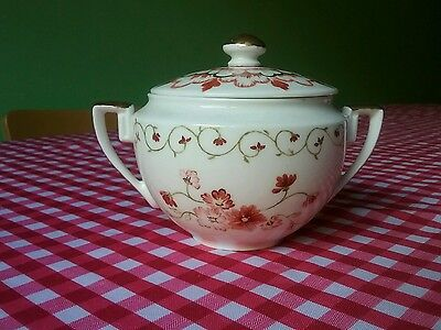Vintage Antique Hand Painted China Sugar Bowl with Lid with Floral Pattern