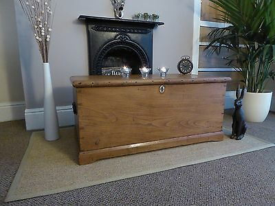 Victorian  Pine / Elm  Old  Vintage  Chest / Trunk/ Blanket Box/ Coffee Table/