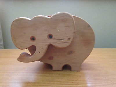 Handmade Wooden Animal Coin Bank - Elephant Unfinished ( add your touch)