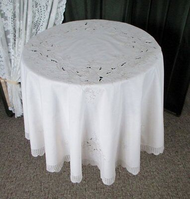 """LARGE ROUND TABLECLOTH-HAND EMBROIDERY & HAND CROCHET-68"""" dia"""