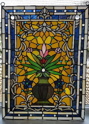 "Elegant Tiffany Stained Glass ""Floral Vase"" Window Panel"