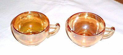 Jeannette Moderne Marigold Iridescent Carnical Glass Coffee Tea Punch Cups 2 Pcs