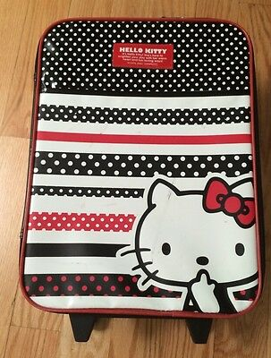 """Hello Kitty 16"""" Luggage Suit Case Black Red Trolley Rolling Bag For Girls Kids."""