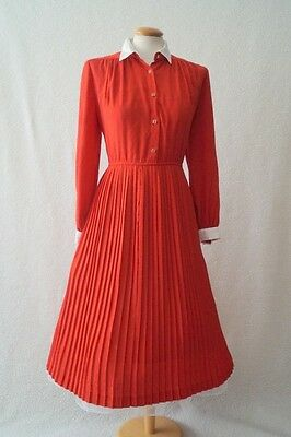 Vintage red 80s dress 40s 50s landgirl WW2 rockabilly tea dress Size 14