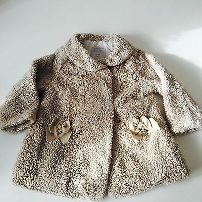 Mayoral Chic beige coat shaggy wool style 18 months