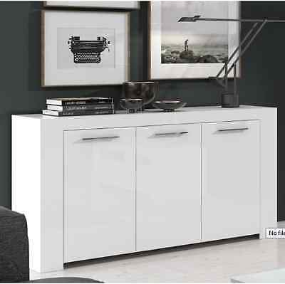 City Living High Gloss Contemporary White Sideboard