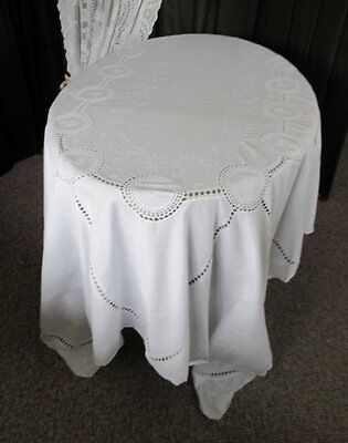 """Large Tablecloth-Hand Embroidered & Hand Crochet-66"""" X 102"""""""