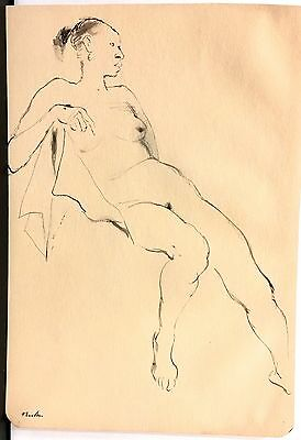John Fenton Listed Woodstock Original Pen And Ink Nude Excellent