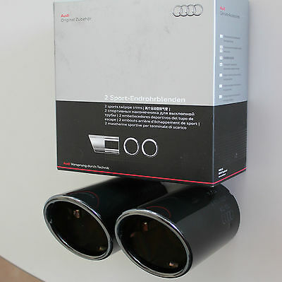 Audi A3 8P original Exhaust Embellishers End Pipes Exhaust Tailpipe black S3