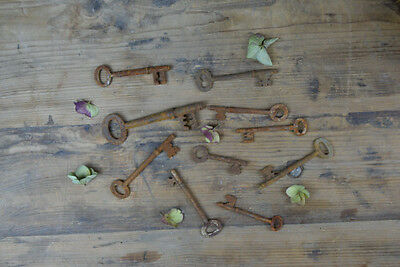 Collection Of 10 X Large Antique Vintage Iron Church Door Cabinet Skeleton Keys