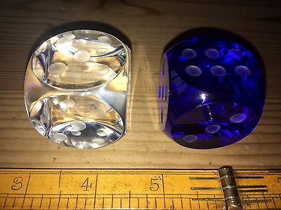 Two unusual vintage large art glass dice paperweights