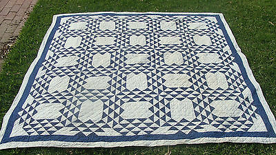 """19th C cotton calico Ocean Waves all hand quilted quilt, 78"""" x 74"""" *"""
