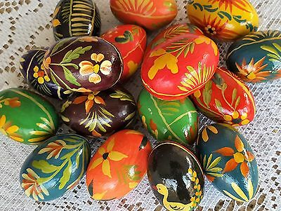 17 Vintage Russian Hand Painted Wood Eggs Easter Floral Ass't Colors Design Duck