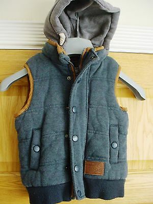 Kids hooded zip front 'Rebel' WAISTCOAT GILET Size 4-5 yrs