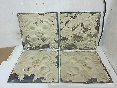 "4  Antique 12 "" x 12 ""  Salvaged  Victorian Metal Tin Ceiling Tiles"