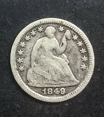 1849 /8 Over  Date Variety  Seated Half Dime  Decent Coin Interesting Variety
