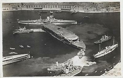 1920s Royal Navy HMS Courageous in Malta Harbour Unused RP Postcard