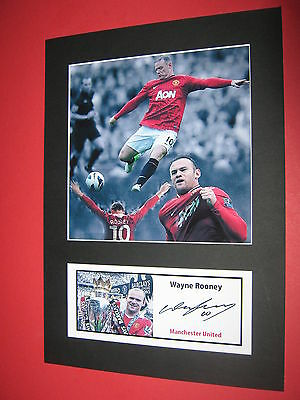 Wayne Rooney Manchester United  A4 Photo Mount Signed (Pre-Printed)