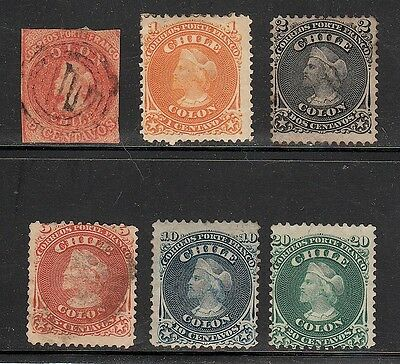 19Th Century Stamps From Chile