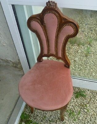 Vintage French beech pretty shaped side chair for reupholstery