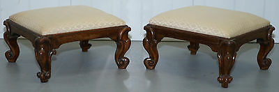 Pair Of Stunning Victorian Mahogany Small Footstool Hand Carved Cabriole Legs