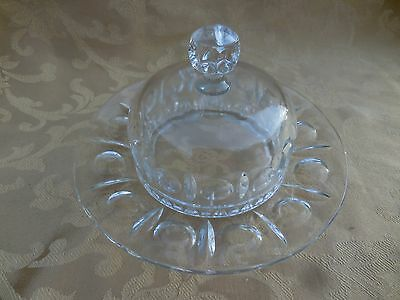 Vintage Clear Glass Round Covered Butter Dish
