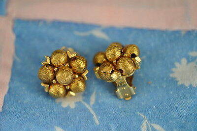 Vintage Gold Clip-On Earrings Six-Bead Cluster in Design