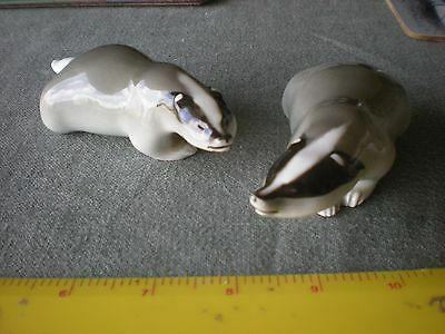 Pottery badgers - made in Russia USSR x 2