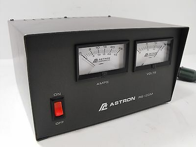 Astron RS-20M 11 - 15 VDC Power Supply 20 A Max 16 A Continuous w/ Dual Meters